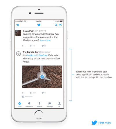 Twitter's First View ad gives brands 24-hour exclusivity to be the first ad people see.