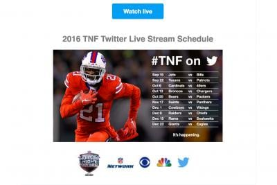 Twitter promotes its schedule of NFL games.
