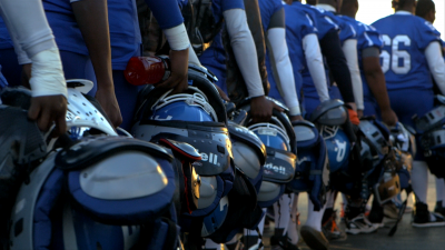A scene from a Sports Illustrated video series about high-school football players