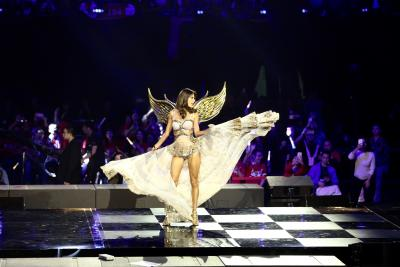 A model showing off Victoria's Secret lingerie at a televised Alibaba variety show on Nov. 11.