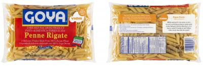 Goya's new pasta product packaging with Vroom content