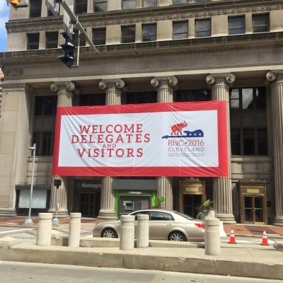 A welcome sign on Euclid Avenue greets Republican National Convention delegates and visitors in Cleveland.