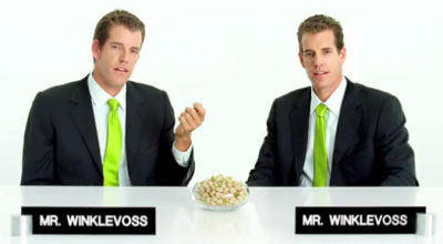 The Winklevoss twins in their pistachios commercial
