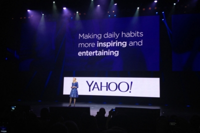 Yahoo CEO Marissa Mayer on stage at CES