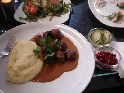Genuine Swedish meatballs, with a side of lingonberries