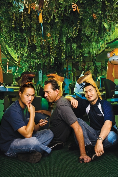 From left: CEO Tony Hsieh, the untitled Fred Mossler and COO/CFO/chairman Alfred Lin