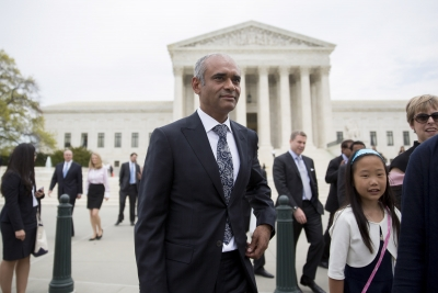 Aereo CEO Chet Kanojia leaves the Supreme Court following oral arguments earlier this year.