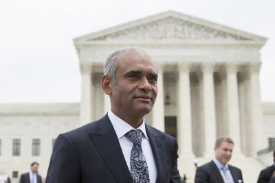 Aereo CEO Chet Kanojia leaves the Supreme Court following oral arguments.