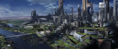 Minority Report, Washington DC 2050. The influence of the Precogs has created a murder-free society within a limited radius of the city. The resulting rapid growth of population has stimulated a vertical urban expansion outside the zoned capital. This illustration by James Clyne shows an apparently benign, green, and futuristic society.