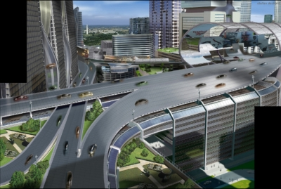 Minority Report: The vertical 'Mall City' has necessitated a new kind of transportation that can migrate from vertical to horizontal maglev roadways. This need to navigate the vertical city, and the vertically stacked social hierarchy gives rise to storytelling opportunities.