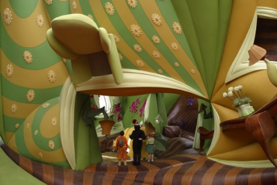 Cat In The Hat. A highly distorted environment conceptualized in architectural software form-Z and executed using traditional sculpting techniques creates for a highly experiential environment.