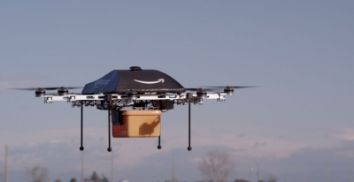 A photo from Amazon's page promoting its potential delivery drones