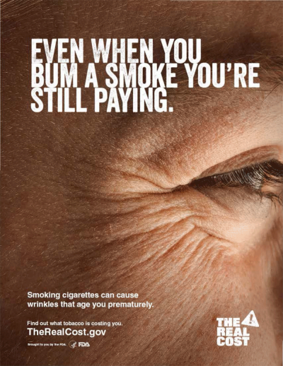 One of the FDA's new anti-smoking ads targeting young people