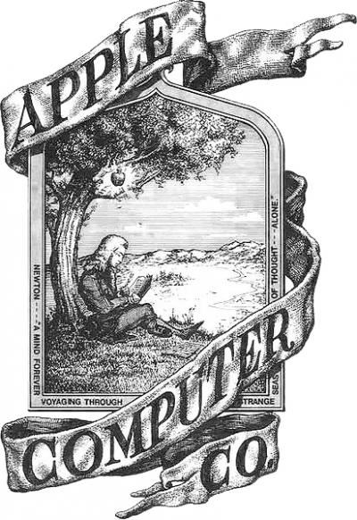The first Apple logo, created by Ron Wayne.