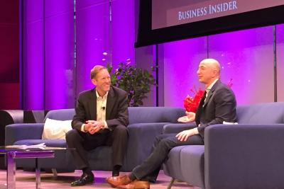 Business Insider CEO, left, interviews Amazon founder and CEO Jeff Bezos, right.