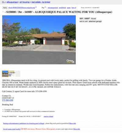 Century 21 lists a certain house for sale