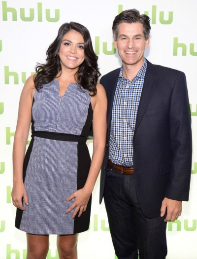 Cecily Strong, who hosted the Hulu NewFronts pitch, with Hulu CEO Mike Hopkins.