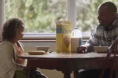 A scene from Cheerios' Super Bowl ad, the brand's first
