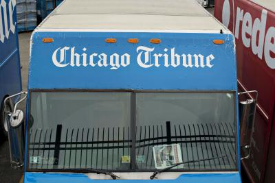 Trucks outside the Chicago Tribune printing facility in Chicago.