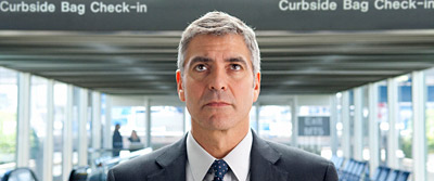 George Clooney stars in 'Up in the Air' but American Airlines and Hilton Hotels have prominent roles too.