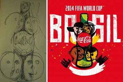 How a sketch on a napkin progressed to Coca-Cola's World Cup logo.