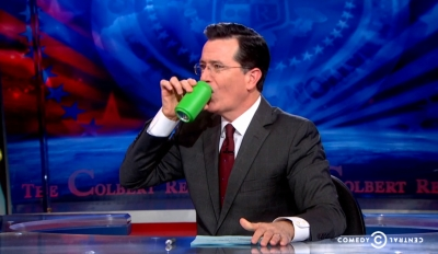 Stephen Colbert making it easy for retroactive product placement in reruns of his show.