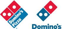 From left, Domino's Pizza's old and new logos.
