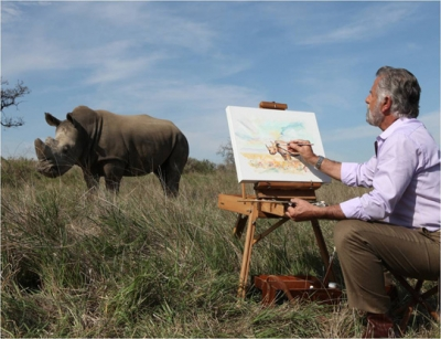 He will paint a rhino, but not make PR appearances.