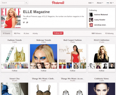 Elle magazine's Pinterest page.