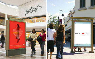 Eye USA is running a monthlong out-of-home effort to support four charities, including the American Heart Association and the American Red Cross, in malls around the country.