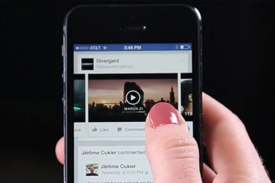 Facebook's demo of an video ad that plays automatically in users' feeds.