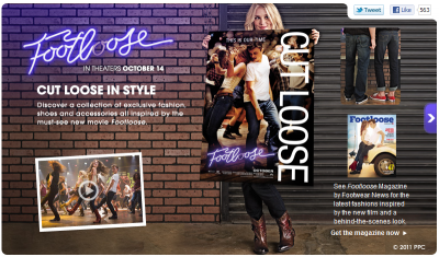 HSN's website is promoting 'Footloose'-related merchandise.