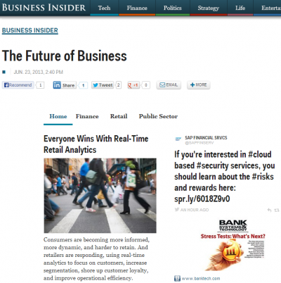The 'Future of Business' section pulls partly from SAP's social media