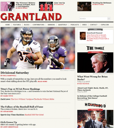Grantland blends sports coverage and pop culture pieces.