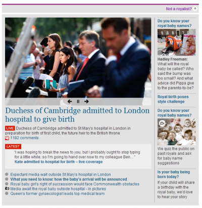 A baby-crazy section of the Guardian's home page in the U.S.