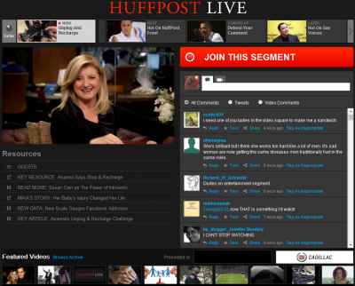 Live viewer comments are prominent.
