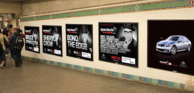 Infiniti's 'takeover' ads for 'Spectacle' in a New York subway station.