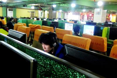 An internet cafe in Shanghai.