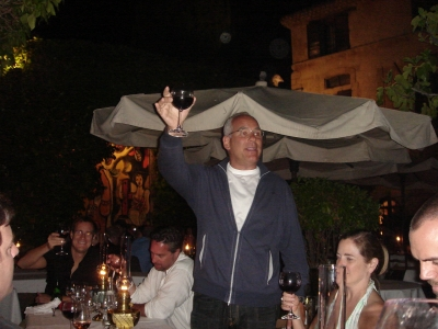 Titanium Judge Jon Kamen toasts the dinner party after a tough session of judging