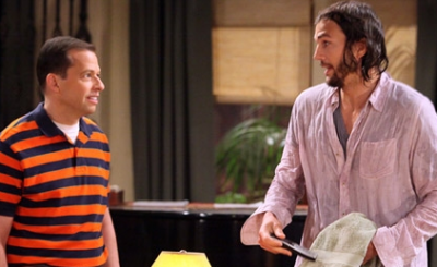 Jon Cryer and Ashton Kutcher in the ninth season premiere of 'Two and a Half Men.'