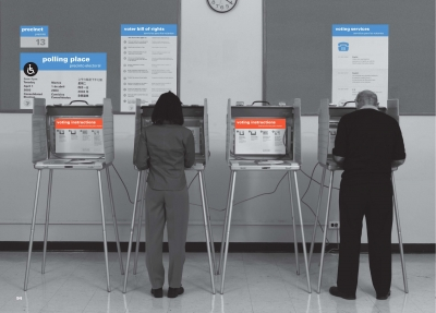 A polling setup in Cook county