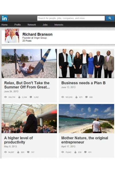 Posts by Sir Richard Branson. Premium content is the tide that LinkedIn hopes can lift its ad business to new heights.