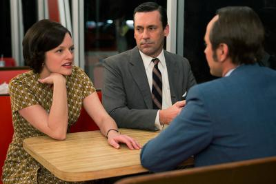 Peggy Olson (Elisabeth Moss), Don Draper (Jon Hamm) and Pete Campbell (Vincent Kartheiser) in episode six