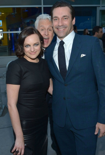 Elisabeth Moss (Peggy Olson), John Slattery (Roger Sterling) and Jon Hamm (Don Draper) at the final season's premiere party.