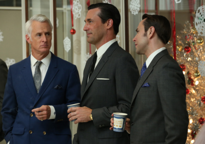 Roger Sterling (John Slattery), Don Draper (Jon Hamm) and Pete Campbell (Vincent Kartheiser) with longer sideburns
