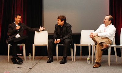 (From l.) Mark Ghuneim, Simon Dumenco and Josh Auerbach at Ad Age's ME* Conference.