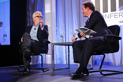 John Slattery (left) chats with Piers Morgan at Ad Age's ME* Conference.