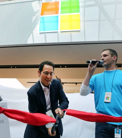 Microsoft CMO Chris Capossela opens a Microsoft Store in Boston.