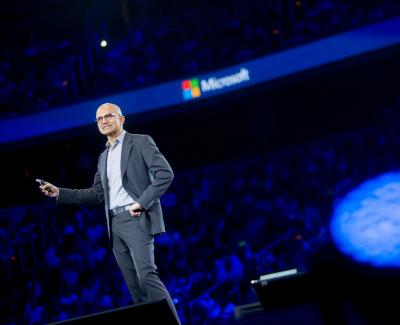 Satya Nadella, CEO of Microsoft, speaks during a keynote session at the Microsoft Worldwide Partner Conference in Washington, D.C., on July 16.