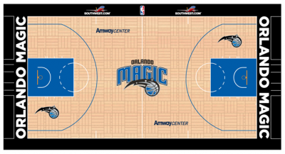The Southwest.com logos in this mockup show where new ads will appear on NBA courts next season.